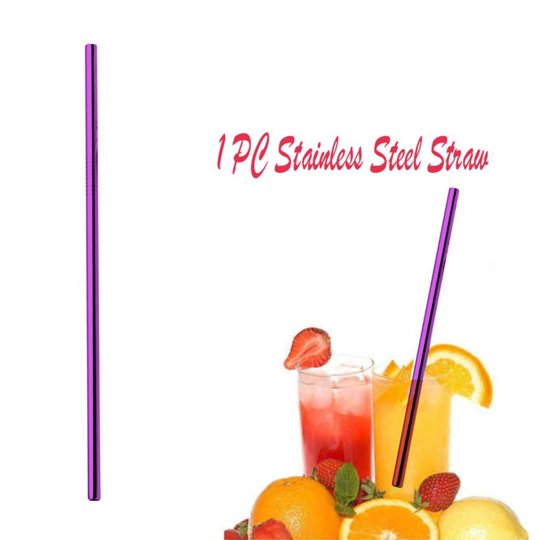 Reusable Metal Straws, Drinking Straws, Aluminum Straws, Smoothies Straws, Wide Straws, Rainbow Colorful Straws for Party (Purple)