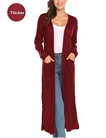 New Ladies Womens Knitted Side Split MAXI TOP Open Boyfriend Long MIDI Cardigan