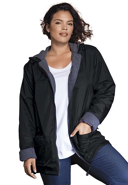 Roamans Women's Plus Size Hooded Jacket with Fleece Lining
