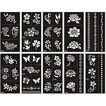 Amazon.com: 10 hoja Henna tatuaje de la plantilla papel para ...