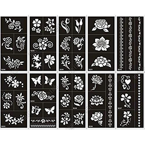 10 Sheet Henna Tattoo Stencil Kit for Women Body Art, Airbrush Glitter Temporary Templates 17.5 x 8.5cm