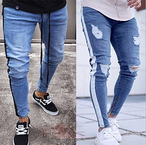 Da Huateng 1 Di Distrutto Con Uomo Strappati Scuro Skinny Disegno Blu Pantaloni Jeans W7EzYrEH