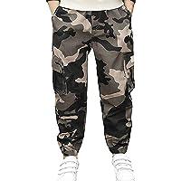 BDUCK Pantalones de deporte para niños y exteriores, de camuflaje, largos, con bolsillos, corte holgado, para tiempo…