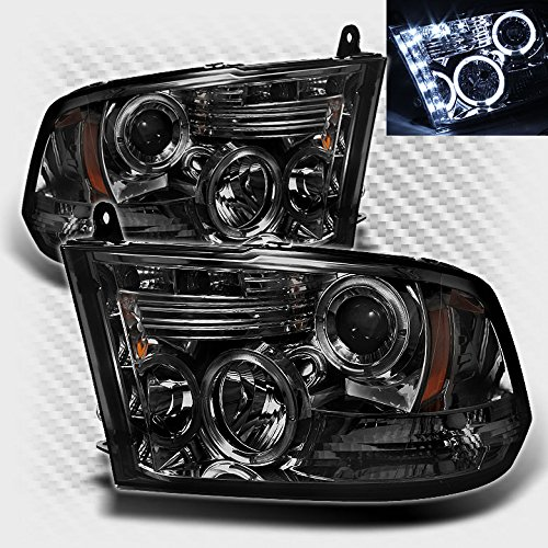 Aftermarket Projector Headlights - Xtune Smoked 2010-2017 Dodge Ram Twin Halo LED Projector Headlights Head Lights Lamp Pair Left+Right 2010 2011 2012 2013 2016