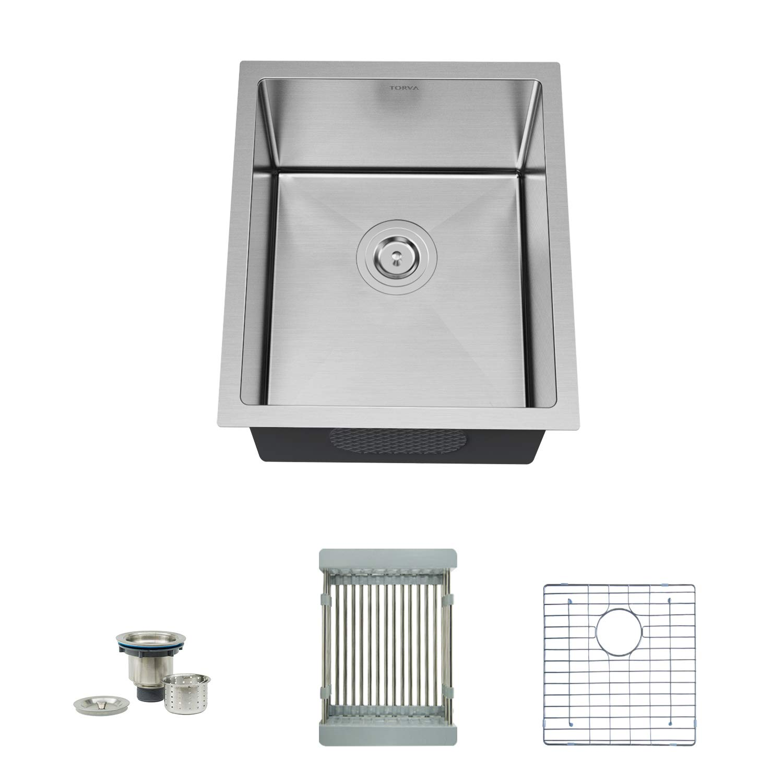 "TORVA 15"" Undermount Stainless Steel Kitchen Sink 16 Gauge, Single Bowl Kitchen Sinks with Bottom Rinse Grid, Sliding Colander and Basket Drain Strainer Suit for 18"" Cabinet in Kitchen/Bar/Prep"
