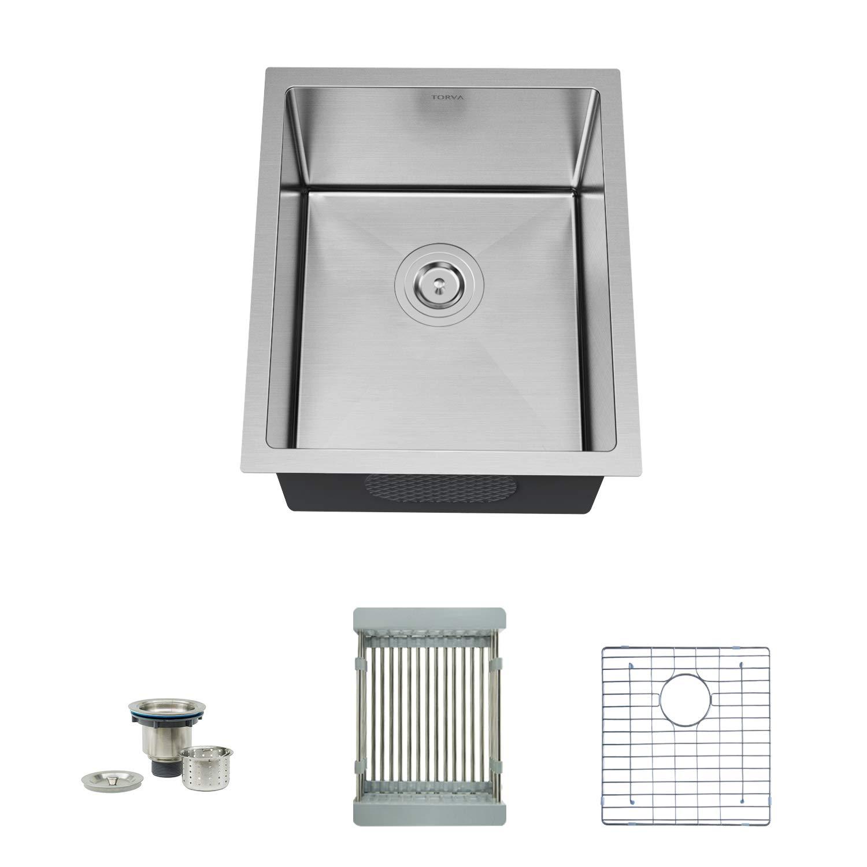 TORVA 15 Inch Undermount Kitchen Sink, 16 Gauge Stainless Steel Wet Bar or Prep Sinks Single Bowl, Fits 18'' Cabinet
