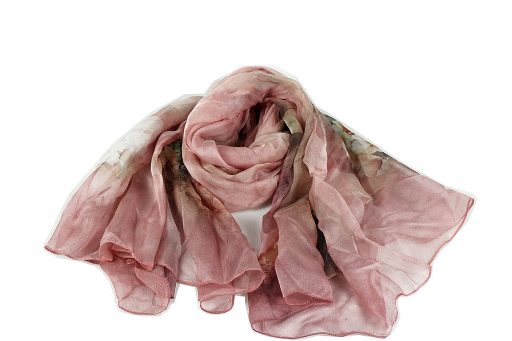 HuanZhou 100% Pure Silk Scarf Light Weight With Flower Design