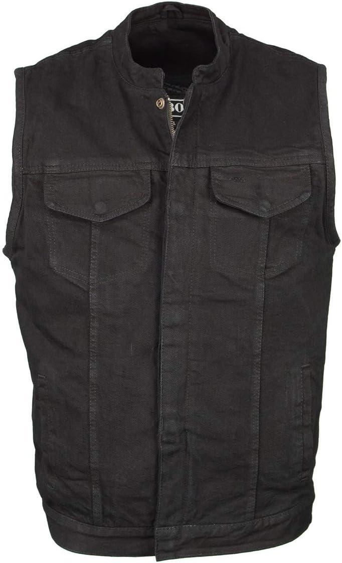 M Boss Motorcycle Apparel BOS13000 Men's Black Denim Club Style Vest with Hidden Zipper - 4X-Large