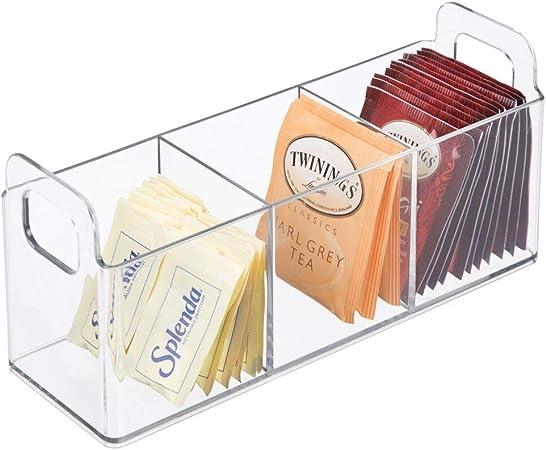 organisateur cuisine avec 8 compartiments et poign/ée id/éale pour le th/é caf/é panier de rangement cuisine et garde-manger etc les /épices mDesign boite de rangement en plastique transpare