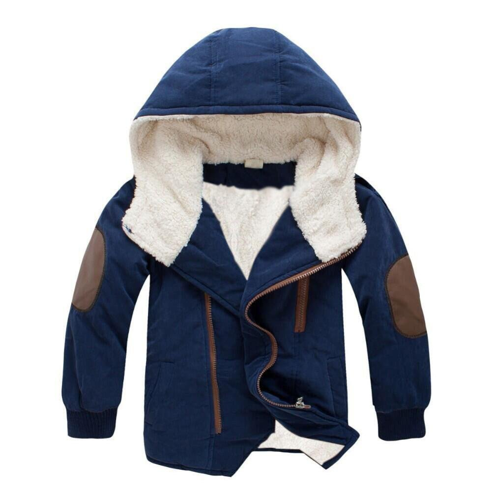 ZLOLIA Baby Clothes Autumn Winter Boys Hooded With Fur Outerwear Warm Jacket Long Coat (120, Navy)