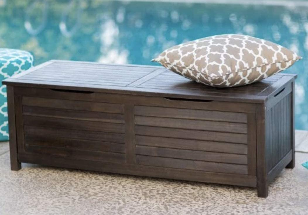 Home Improvements Dark Brown Finish Wood 50 Gallon Deck Storage Box Outdoor Patio Storage Bench Seat  sc 1 st  Amazon.com & Deck Boxes | Amazon.com