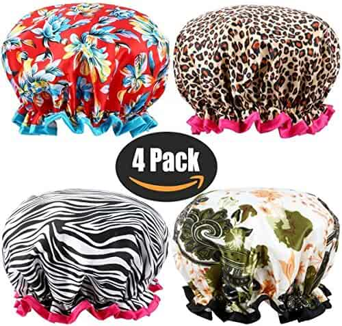Shower Cap, ESARORA 4 PACK Bath Cap Designed for Women Waterproof Double Layer Satin Lined