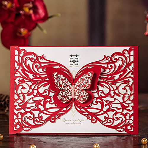 Red Laser Cut Butterfly Wedding Invitations Hollow Floral Party Decoration Chinese Mariage Cards CW5056 (50)
