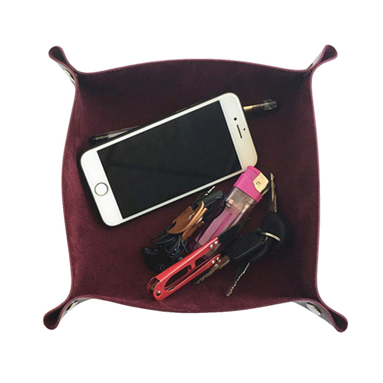 Acronde Leather Valet Tray Jewelry Tray Box Bedside Storage Tray Desk Organizer Trays Personalized Leather Catchall for Coin Key Phone Wallet Watches Glasses Catchall Wine Red