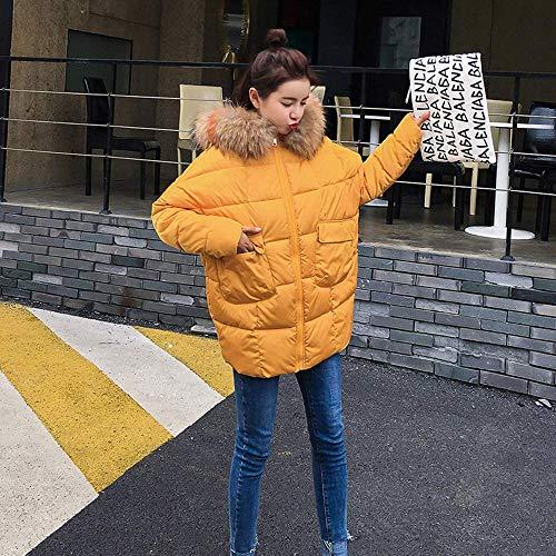 Color Con Tamaño Chaqueta Invierno Mujer Amarillo Oso Lindo Capucha 1X0RWH
