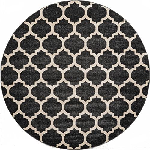 Unique Loom Trellis Collection Moroccan Lattice Black Round Rug 8 0 x 8 0