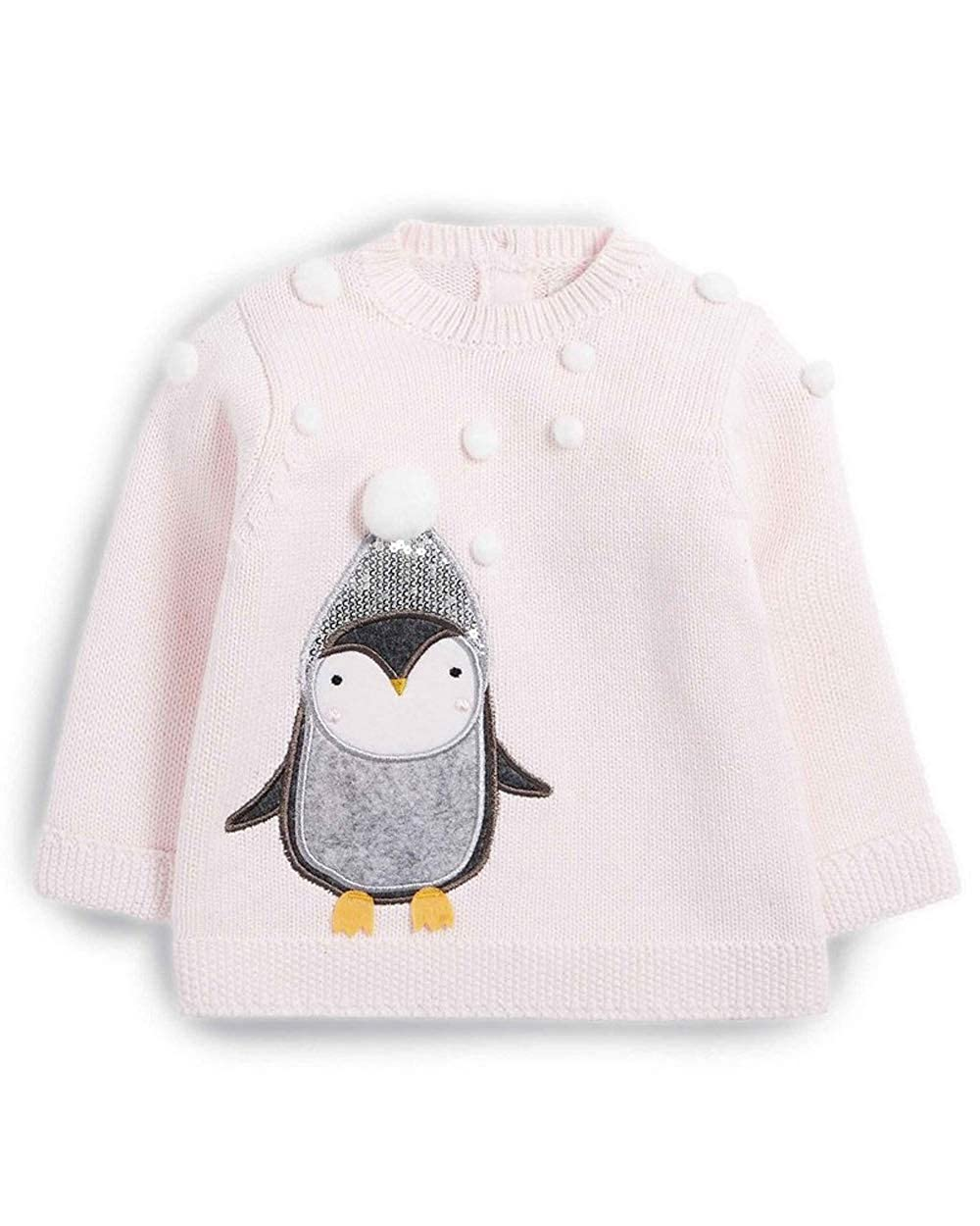 Mamas & Papas Knitted Christmas Penguin Pink Jumper with 3D Pom Poms & Sequins 100% Cotton - 6-9 Months