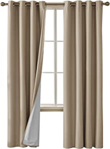 Deconovo Faux Linen Blackout Curtains with 3 Pass Coating Sun Blocking Thermal Insulated Room Darkening Grommet Curtains Panels for Bedroom 52 x 84 Inch 2 Panels Champagne