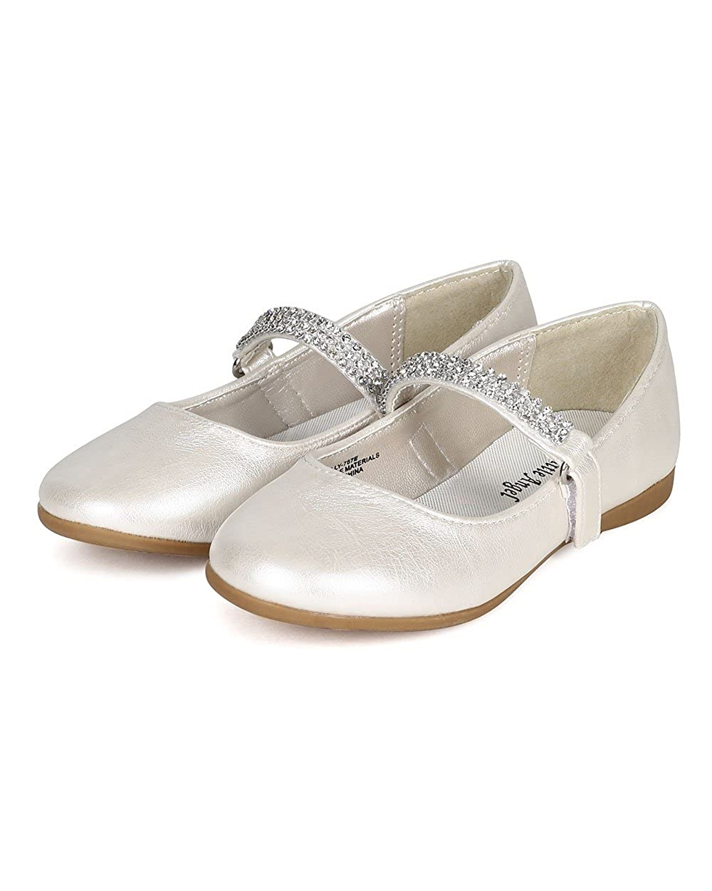 CA05 Ivory Leatherette Toddler//Little Girl Leatherette Round Toe Rhinestone Mary Jane Ballerina Flat