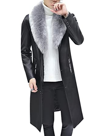 a2ee1b5e6bf7 Oberora-Men Slim Faux Fur Collar Long Pu Leather Trench Coat Jacket ...