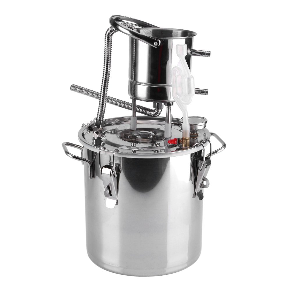10L Home Brew Boiler Alcohol Distiller Wine Making Kit Still with Stainless Steel Boiler & Copper Pipe(10L) Zerodis