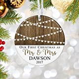First Christmas as Mr & Mrs Ornament 2018, Personalized Rustic 1st Married Christmas Ornament, Newlyweds Wedding Gift - 3'' Flat Circle Porcelain Ceramic Ornament - Gold & Silver Ribbon | PGM-OR-59