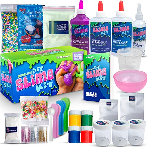 ULTIMATE DIY SLIME KIT for Girls & Boys | ALL YOU NEED TO MAKE SLIMES IN ONE BOX |Ingredients, Tools, Containers, Guide, e-book & Slime Supplies| Cloud, Fluffy, Unicorn, Glow, ()