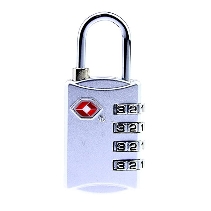 4-Dial TSA Combination Padlock Luggage Suitcase Bag Travel Security Lock Pink