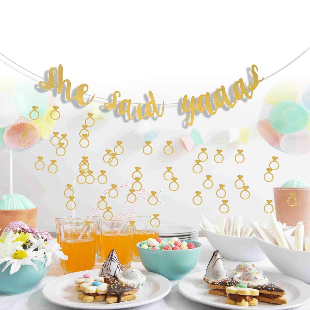 joyMerit Ella Dijo Yaaas Banner Gold Engagement Bachelorette Party Decoraci/ón Props B