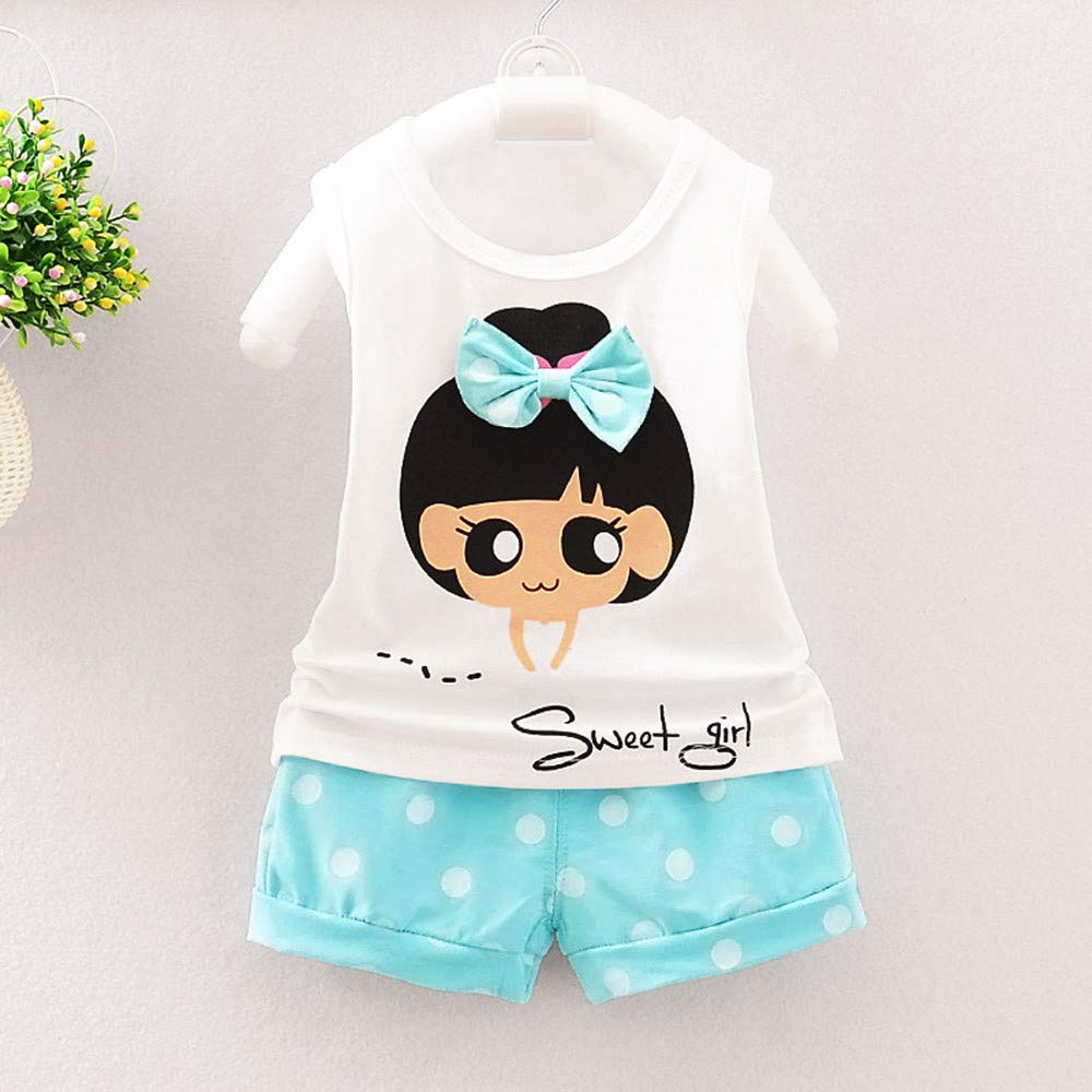 Fartido Summer Sunsuit Baby Girls Playsuit Cartoon Bow Sleeveless T-Shirt Fashion Polka Dot Shorts