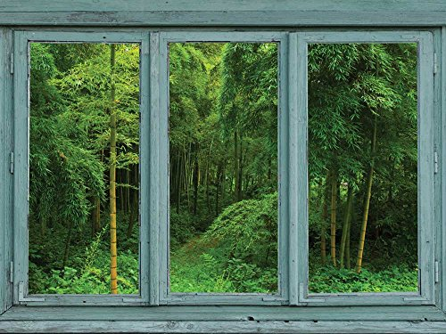 Wall Mural 36x48 inches Vintage Teal Window Looking Out Into a Green Jungle