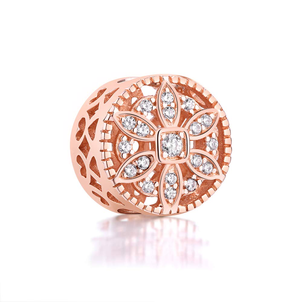 BEAUTY CHARM Gold Plated Flower Beads DIY Rose Gold Crystal Charm Fit Pandora Bracelet 925 Sterling Silver