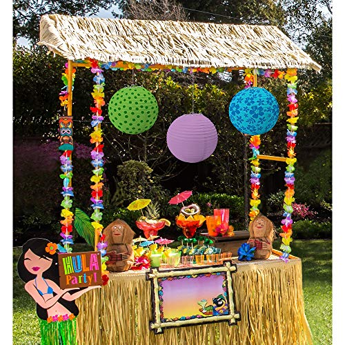 Party City Tiki Bar Decorating Kit, Includes Reusable Tiki Bar Hut, Garlands, Paper Lanterns, Yard Sign and More]()