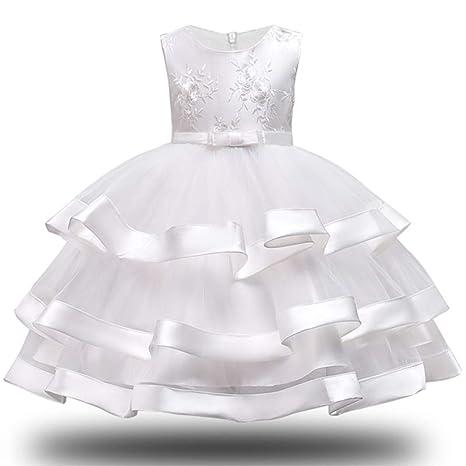 b78bfae66 Amazon.com: Girl Dress Party Birthday Wedding Princess Toddler Baby Girls  Christmas Clothes Children Kids Girl Dresses,White,7: Kitchen & Dining