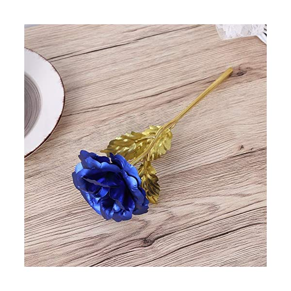 MARJON-FlowersGolden-Rose-24K-Gold-Foil-Trim-Artificial-Rose-Flower-Long-Stem-with-Love-Stand-for-Valentines-Day-Mothers-Day-Anniversary-Wedding-Birthday-Gift-Blue