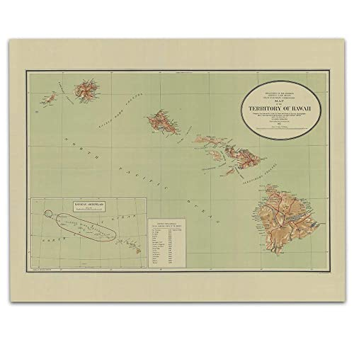 Amazon com: State Of Hawaii Vintage Map Circa 1915-11 x 14 Unframed