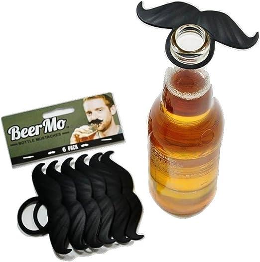 MyPartyShirt 6 Pack Negro Botella de Cerveza del Bigote BeerMo Mo ...
