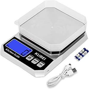 KUBEI USB Rechargeable Food Scale Digital Kitchen Scale 10Kg x 1g High Accuracy Weight Grams and oz for Cooking Baking