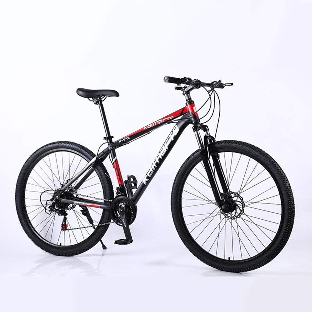 YCHBOS Bicicleta de Montaña de 29 Pulgadas para Hombres, Bicicleta 21/24/27 Velocidades, Bicicleta de Cambio de Marchas, MTB para Adultos Asiento Ajustable y Doble Freno de DiscoBlack red-21 Speed