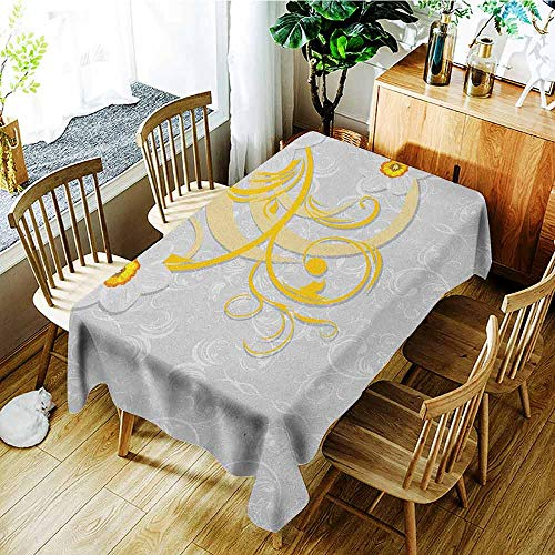 (XXANS Washable Tablecloth,Daffodil,Daffodils on Ornate Background Floral Repeating Swirling Curves Spring Pattern,Dinner Picnic Table Cloth Home Decoration,W60X90L Grey Yellow)