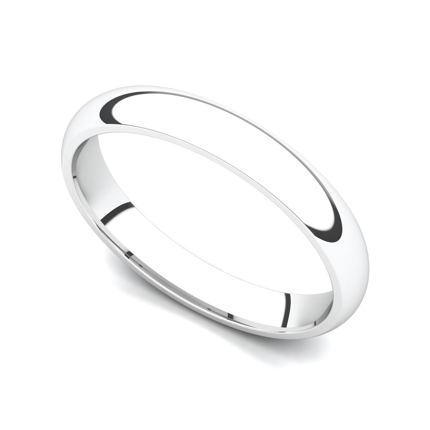 14k White Gold 3mm Classic Plain Comfort Fit Wedding Band Ring, 9