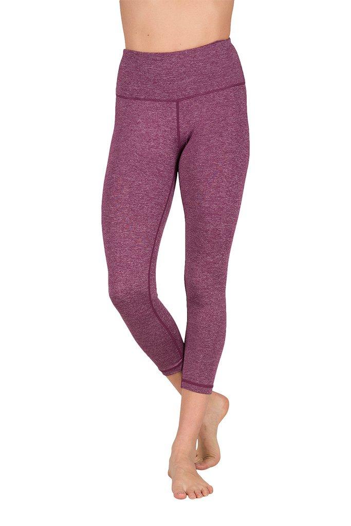 90 Degree By Reflex - High Waist Tummy Control Shapewear - Power Flex Capri - Heather Dark Berry - Large by 90 Degree By Reflex