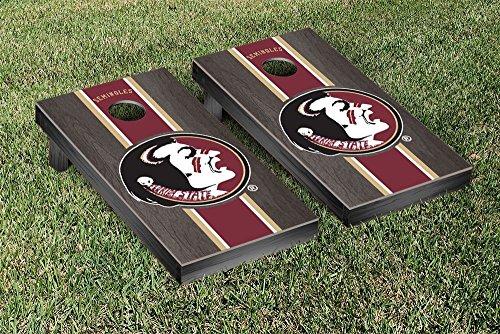 College Vault Florida State FSU Seminoles Cornhole Game Set Onyx Stained Stripe Version