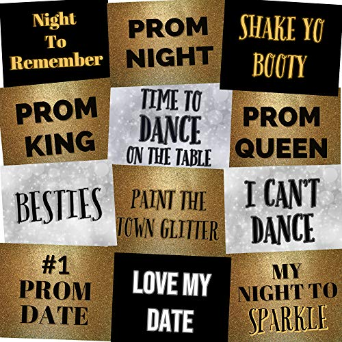High School Prom Photo Booth Props Prom Night Party Signs - Set of 12 -