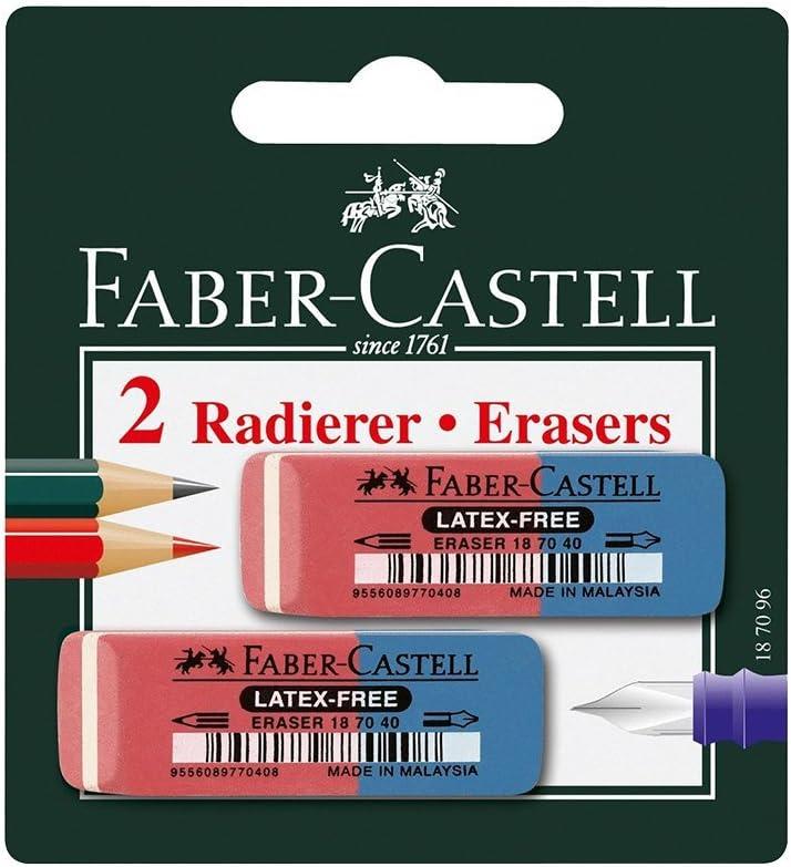 10x Faber-Castell Radiergummi Radierer Latex-free Eraser Kombiradierer rot//blau