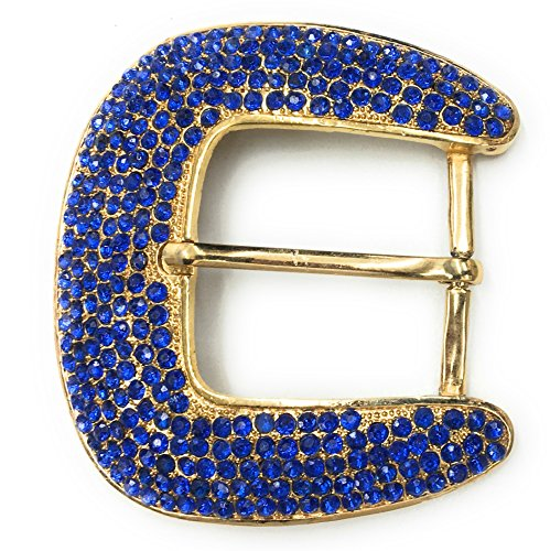 Rhinestone Buckles, Royal Blue Stones on Gold Setting 3-1/4