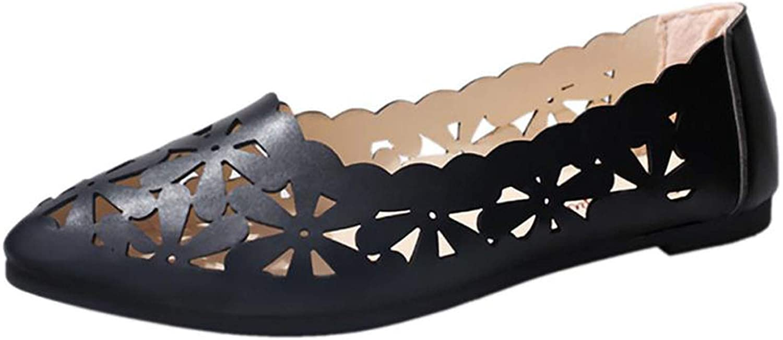 Chercher M Women Flats Shoes Shallow Flat Heel Hollow Out Flower Shape Nude Shoes Pointed-Toe
