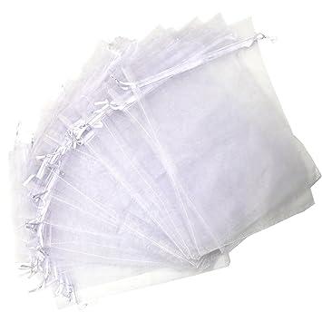 Kebinfen 25 Piezas 20x30cm Blanco Organza Regalo Bolsas Grande para la Boda Favor Bolsas Bolsas de joyería