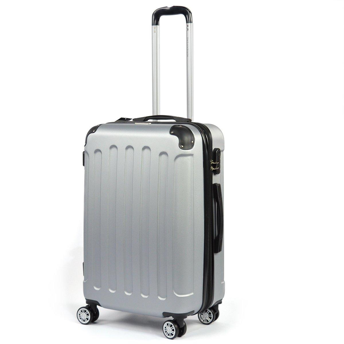 Flexot Reisekoffer - Trolley - Grö ß e M Koffer - Reisekoffer - Hartschale -4 Reifen - Dehnfalte - Doppelgriffe - Zwillingsreifen -Silber Flexot-M-Silber