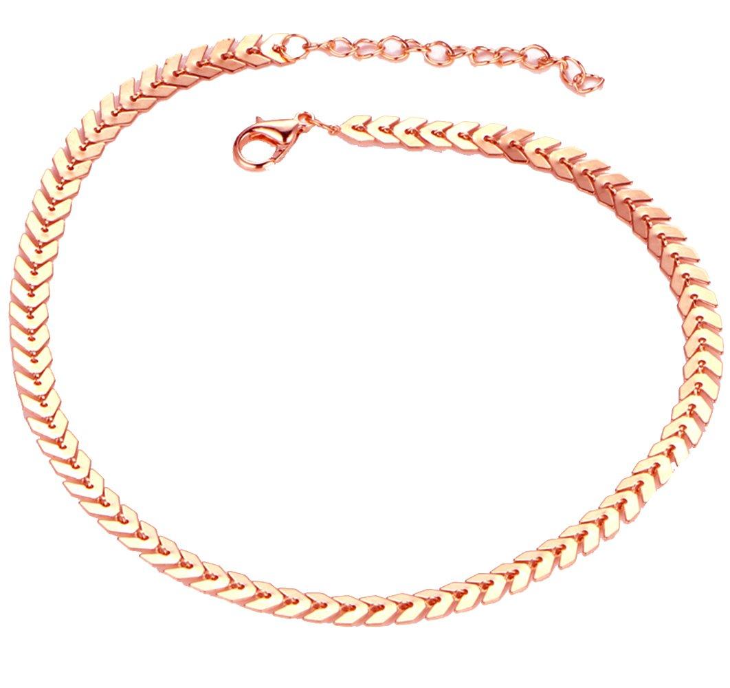 SENFAI Arrow Leaf Short Choker Necklaces African Statement Jewelry 16'' Extender 2''(Rose gold)